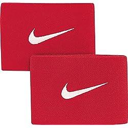 Nike Guard Stay - Banda sujeta espinillera, color rojo / blanco, talla única