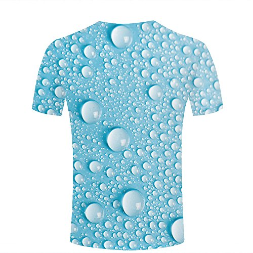 ouzhouxijia Mens T-Shirts 3D Printed Light Blue Drops Of Water Graphic Couple Tees B