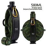 klappbar Military Wasser Flasche–Neu Entworfen Silikon Wasser Wasserkocher Kantine mit Kompass Flasche GAP für Wandern Camping Outdoor, BPA-frei 19,8oz, grün camo