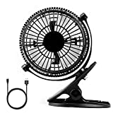Clip on Mini Desk USB Fan, 2-Mode Speed 360 Degree Rotation Silent Cooling Cooler Electric Fan for Home Office Baby Car Laptop black By Duomishu