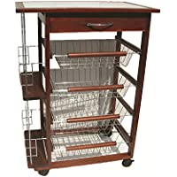 Beca carrello da cucina portabottiglie in legno noce 4 cassetti portafrutta 37 x 57 x 83h