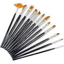 SUMERSHA Set di pennelli per acquerello pittura con manico in legno 12pcs
