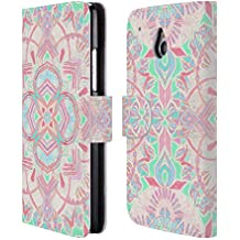Official Micklyn Le Feuvre Mint And Blush Pink Painted Mandala 2 Leather Book Wallet Case Cover For HTC One mini