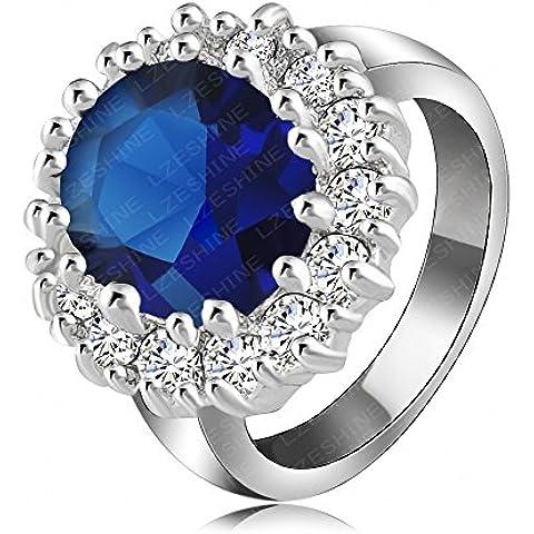 Nusey gioielli di moda (TM) britannica Kate principessa Diana William Anello di fidanzamento platino placcato austriaco del cristallo di SWA elemento ad anello Ri-HQ0016