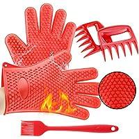 TWFRIC Super Valor 3 en 1 Set, Resistente al Calor de Silicona Cocina Gloves-Meat Destructora Oso Claws-Basting Cepillo para Cocinar, Asar, Horno y Barbacoa
