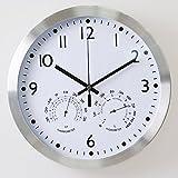 Reloj de pared, silenciosa para no hacer tictac del reloj de pared de la batería del reloj de 12 pulgadas alimentado con temperatura y humedad del higrómetro del reloj de cuarzo (estructura de metal y acrílico Cubierta frontal)
