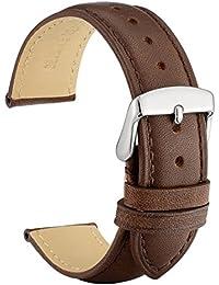WOCCI 20mm Cinturino in Pelle Retro Compatibile con Molti Tipi di Orologi (Marrone Scuro)