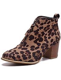 Botines para Mujer,Beikoard Mujeres Zapatos De Moda Tobillo Sólido Leopardo Cremallera Shoes Botín Botas