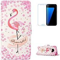 KaseHom Galaxy S8 Plus + [Protector de Pantalla] Dibujos Animados Estuche Billetera de Cuero Folio con Ranuras para Tarjetas y Cubierta Flip magnética Slim Anti-Arañazos Case - Flamencos