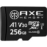 AXE Tarjeta de memoria microSDXC de 256 GB + adaptador SD con rendimiento de aplicación A1, V30 UHS-I U3 4K