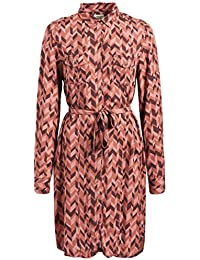 8aff28001a07 khujo Damen Bluse Hayat Longbluse Blusenkleid mit Bindegürtel grafisches  Muster
