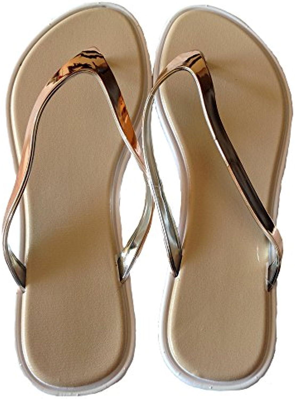 les tongs, femmes shiney t en or rose et tongs, les sandales e336d8