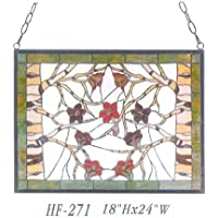 "Gweat HF-271 Tiffany Style vitral Flores y ramasRectangle Window Hanging Glass Panel Sun Catcher, 18"" Hx24 W"