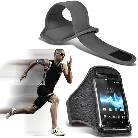 Samsung Galaxy S4 Mini i9190 Sport Armband Corsa Ciclismo Palestra Jogging Sbarazzamento copertura della cassa della fascia di braccio Bike (Grigio) Per Spyrox