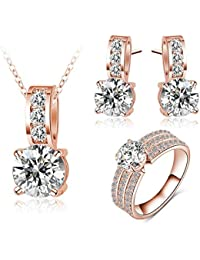 2d7da49bdee9 Adisaer Chapado en Plata Simple Renombre Collar Pendientes Anillo Juegos de Joyas  Regalo Conmemorativo Mujeres Diamante