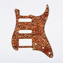 Musiclily HSS 11 Hilos Strat Guitarra eléctrica Pickguard y BackPlate Set para Fender EE.UU. / México Made estándar Stratocaster piezas de guitarra de estilo moderno, 4Ply Shell Tiger Spot