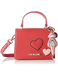 Love Moschino - Borsa Calf Pu Rosso, Bolsos baguette Mujer, Rot (Red), 13x18x10 cm (W x H D)