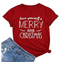 Have Yourself a Merry Little Christmas T Shirt Tees Women Short Sleeve O Neck Tees Tops Size L (Red)