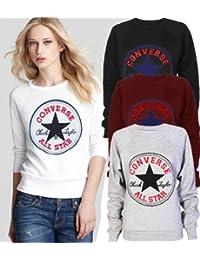 Generic - Sweat Shirt Femme Fille Design Converse All Star Noir