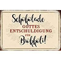 Blechschild  SCHOKOLADE IST DIE ANTWORT 35x26cm Sticky Jam WA