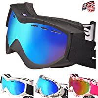 Rayzor Professional UV400 Double Lensed Ski/SnowBoard Goggles, With a Matt Black Frame and an Anti Fog Coated, Vented Smoke Mirrored Anti-Glare Wide Vision Clarity Lens.