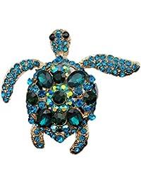 YAZILIND delicada Linda tortuga incrustaciones rhinestones broche cuello aguja mujeres niñas accesorios