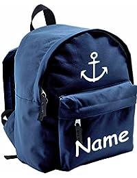 """ShirtInStyle Niños Mochila """"Ancla, Marine"""", con Name refinada, ideal para Kita, deportes y ocio - Azul"""