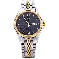 Leopard Shop Angela Bos 9012G giacca a vento automatico meccanico orologio puntatore luminoso 3ATM data giorno artificiale diamante quadrante orologio da polso nero oro - Womens Diamante Orologio Automatico