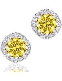 18K Plaqué or-Oxyde de zirconium-Boucles d'Oreilles Clous en forme de coussin Halo (1,90Cts)
