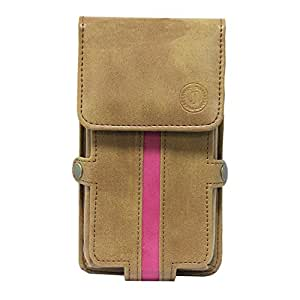 Jo Jo A6 Nillofer Series Leather Pouch Holster Case ForLenovo A680 Tan Pink