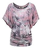 DJT FASHION DJT Damen Rundhals Kurzarm T-Shirt Fledermaus Batwing Sommer Stretch Tunika Tie-Dye Pink L