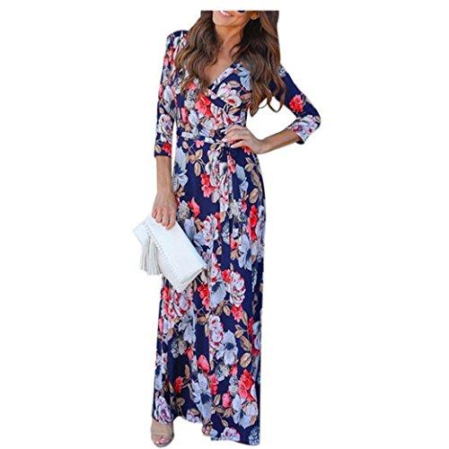 Bekleidung Longra Damen Sommer Strandkleid V Neck Boho lange Maxi Abend  Party Strand Kleid Floral Sommerkleid Blue