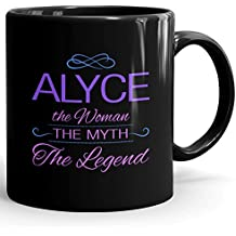 Alyce Coffee Mug Tazza Nera Personalizzata con Nome - The Woman The Myth The Legend - Best Gifts Regalos for Women - 11 oz Black mug - Purple