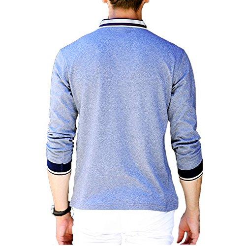 BicRad Herren Polo Shirts Slim Baumwolle Langarmshirts Business Freizeit  Grau ...