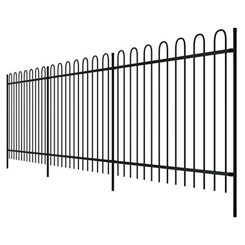 Zora Walter Zierzaun aus Stahl schwarz Ringspitze 150 cm abtrennbar Gartenzaun außen Zaun Metall Zaun Stahl Zaun Zaun