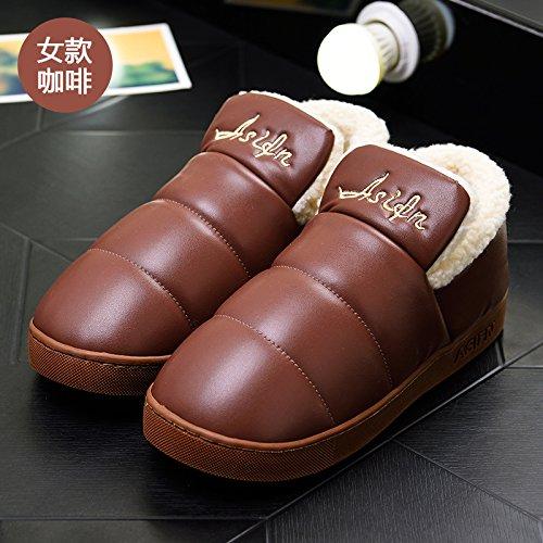 DogHaccd pantofole,Inverno pantofole di cotone morbido pacchetto spessa con un soggiorno interni in pelle impermeabile e antiscivolo per uomini e donne paio di scarpe di cotone Il caffè3
