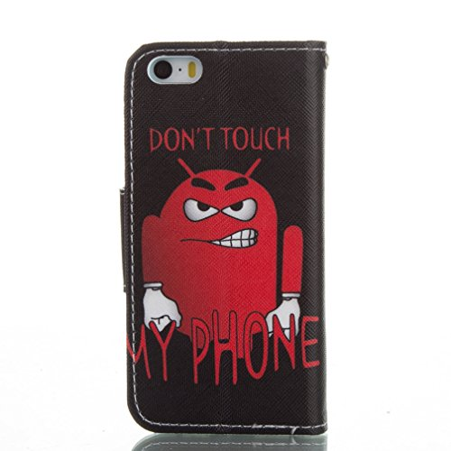 Housse iPhone 5/5S OuDu ¨¦tui ¨¤ rabat pour iPhone 5/5S Housse de Protection Coque PU Cuir ¨¦tui Portefeuille Flip Wallet Case Folio Holster Book Style Cover Coque Motif Original Housse Mince L¨¦ger ¨ Don't Touch My Phone