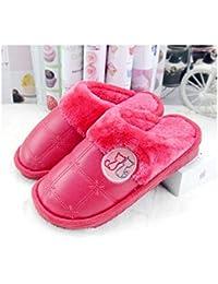 GAOHUI Slippers Los Hombres Invierno Caliente Antideslizante Terciopelo Artificial Moda Dibujos Animados Amantes' Zapatos,Gules,40-41