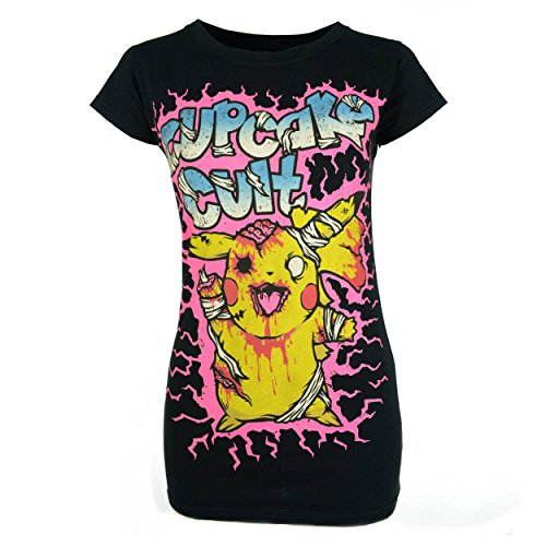 (Cupcake Cult Zombie T-Shirt schwarz Damen Goth Emo Punk - Schwarz, Small (36-38))