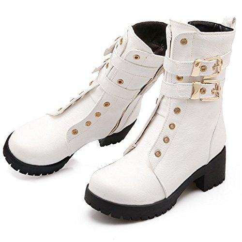 Und Stiefel Taoffen Blockabsatz Trend Einfach Schnürt Britische Schuhe Weiß Riemen Art Damen Martin Schnalle qTTtP