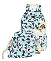 Teenage Girls Panda Graffiti Backpack Canvas School Bag Casual Travel Rucksack + Shoulder Bag + Purse (Green)