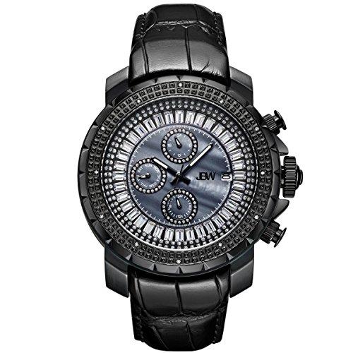 JBW Hombres del reloj de Diamond con cristales de Swarovski negro