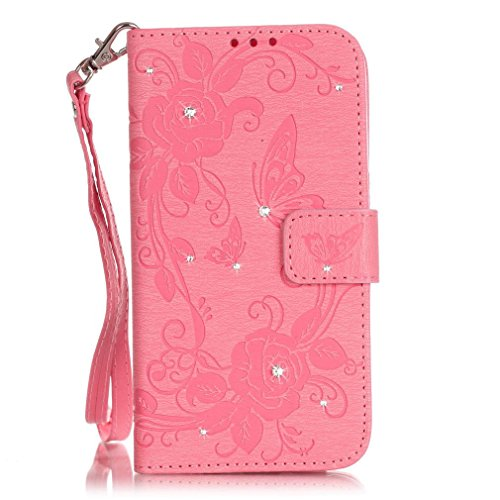 SZHTSWU Hülle für iPhone 6 6s, Magnetverschluss Schmetterling Blumen Series mit Lanyard Strap Design PU Leder und Bling Strass Glitter Tasche Weiche Silikon Schutzhülle Hülle Flip Wallet Case Handyhül Pink