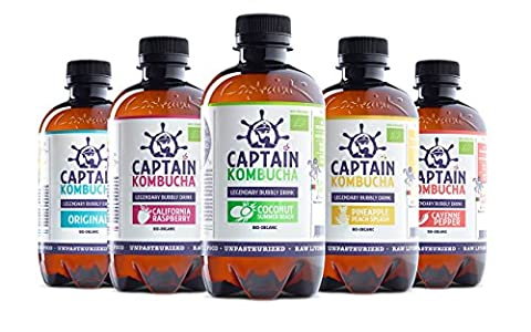 Captain Kombucha - Kombucha Tea, Certified Organic - Natural Fermented Probiotic Drink, Raw Living Food, No Preservatives, No Artificial Colours or Flavors, non Pasteurized, Raw and Vegan - 8 x 400ml (MixBox)