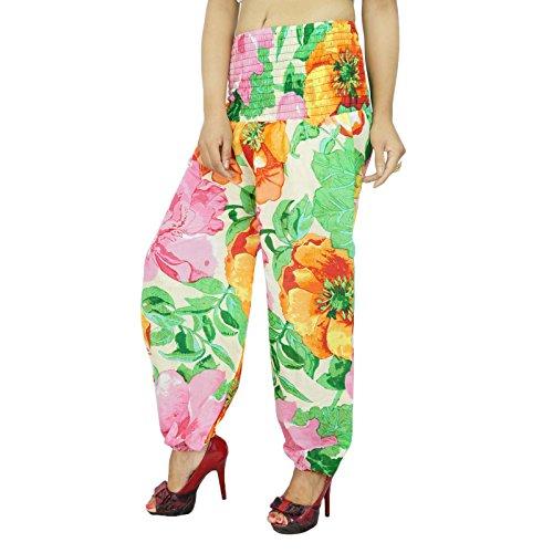 Pur Hip Hop De Coton Harem Imprimé Floral Pantalons Femmes Boho Baggy Crème