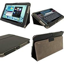 igadgitz Portfolio - Funda de piel sintética con soporte angular y protector de pantalla para tablet Samsung Galaxy Tab 2 10.1 P5100 P5110, color negro