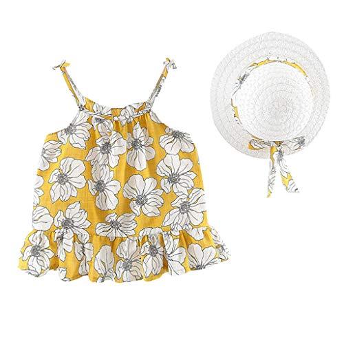 13 Kostüm Prinzessin Jährige - SUNFANY Schöne Kleider für Mädchen Sommer Ärmellos Sling Blumenrüsche Festliches Kostüm Kleiden Prinzessin + Strohhut Gr. 12M-3Y(Gelb,90/12-18 Monate)