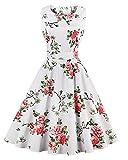 ZAFUL Damen Retro Elegante Cocktailkleider 50er Jahre Hepburn Ärmellos Abendkleid Swing Kleider-Weißer Druck-L