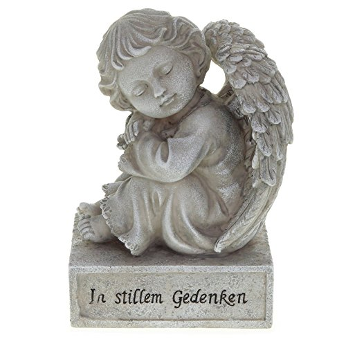 Grabdekoration Engel mit Flügel auf Monument mit Spruch
