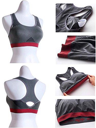 bunny-shop - Soutien-gorge - Femme Multicolore Multicolore Medium Grau mit rotem Abschluss